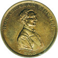 "Lincoln: , 1860 Lincoln Campaign Medal MS62 NGC. Sullivan-AL-1860-41. Brass.28mm. This medal honors Lincoln as ""the rail splitter of t..."