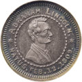 Lincoln: , (1860) Abraham Lincoln Campaign Medal MS63 NGC. D-AL-1860-AL.Sullivan 1860-74. Silver 19mm. Obverse: beardless head and sho...
