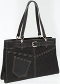 Luxury Accessories:Bags, Christian Dior Black Leather and Denim Tote Bag. ...
