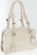 Luxury Accessories:Bags, Prada Cream Leather Shoulder Bag with Large Embossed Logo. ...