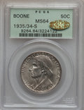 Commemorative Silver, 1935/34-S 50C Boone MS64 PCGS. Gold CAC. PCGS Population (224/315).NGC Census: (160/284). Mintage: 2,004. Numismedia Wsl. ...
