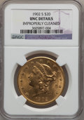 Liberty Double Eagles: , 1902-S $20 -- Improperly Cleaned -- NGC Details. Unc. NGC Census:(369/3536). PCGS Population (248/2917). Mintage: 1,753,62...