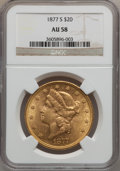 Liberty Double Eagles: , 1877-S $20 AU58 NGC. NGC Census: (632/1199). PCGS Population(313/943). Mintage: 1,735,000. Numismedia Wsl. Price for probl...