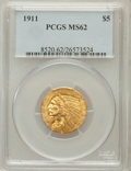 Indian Half Eagles: , 1911 $5 MS62 PCGS. PCGS Population (2064/1381). NGC Census:(3273/1358). Mintage: 915,000. Numismedia Wsl. Price for proble...