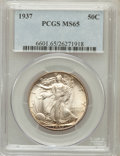 Walking Liberty Half Dollars: , 1937 50C MS65 PCGS. PCGS Population (1422/710). NGC Census:(1018/440). Mintage: 9,527,728. Numismedia Wsl. Price for probl...