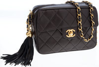 Chanel Black Lambskin Leather Small Camera Bag with Gold Hardware