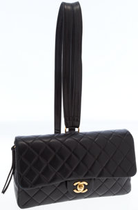 Chanel Black Lambskin Leather Flap Backpack with Gold Hardware