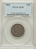 Half Cents: , 1825 1/2 C XF45 PCGS. PCGS Population (30/159). NGC Census:(35/293). Mintage: 63,000. Numismedia Wsl. Price for problem fr...