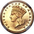 Proof Gold Dollars, 1887 G$1 PR63 Cameo NGC. CAC....
