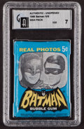 Non-Sport Cards:Unopened Packs/Display Boxes, 1966 Topps Batman Real Photos 5-Cent Wax Pack GAI NM 7. ...