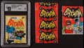 Non-Sport Cards:Unopened Packs/Display Boxes, 1966 Topps Batman Wax Packs and Wrappers Collection (4). ...