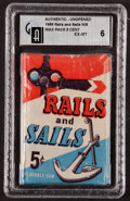 Non-Sport Cards:Unopened Packs/Display Boxes, 1955 Topps Rails and Sails 5-Cent Wax Pack GAI EX-MT 6. ...
