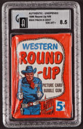 "Non-Sport Cards:Unopened Packs/Display Boxes, 1956 Topps ""Western Round-Up"" 5-Cent Wax Pack GAI NM-MT+ 8.5. ..."