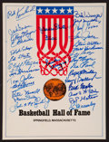 Basketball Collectibles:Others, Basketball Hall of Famers Multi Signed Folder....