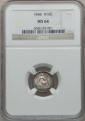 Seated Half Dimes: , 1844 H10C MS64 NGC. NGC Census: (57/37). PCGS Population (25/49).Mintage: 430,000. Numismedia Wsl. Price for problem free ...
