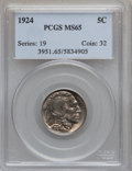 Buffalo Nickels: , 1924 5C MS65 PCGS. PCGS Population (207/81). NGC Census: (105/37).Mintage: 21,620,000. Numismedia Wsl. Price for problem f...