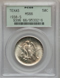 Commemorative Silver: , 1938-S 50C Texas MS66 PCGS. PCGS Population (283/54). NGC Census:(268/86). Mintage: 3,814. Numismedia Wsl. Price for probl...