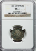 Proof Liberty Nickels: , 1883 5C No Cents PR64 NGC. NGC Census: (273/365). PCGS Population(346/397). Mintage: 5,219. Numismedia Wsl. Price for prob...
