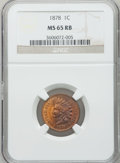Indian Cents: , 1878 1C MS65 Red and Brown NGC. NGC Census: (183/26). PCGSPopulation (79/3). Mintage: 5,799,850. Numismedia Wsl. Price for...
