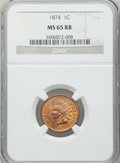 Indian Cents: , 1874 1C MS65 Red and Brown NGC. NGC Census: (216/46). PCGSPopulation (87/2). Mintage: 14,187,500. Numismedia Wsl. Price fo...