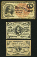 Fractional Currency:Third Issue, Fr. 1226 3¢ Third Issue Fine;. Fr. 1238 5¢ Third Issue Fine;. Fr. 1268 15¢ Fourth Issue Fine.. ... (Total: 3 notes)