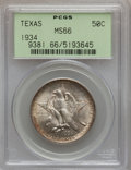 Commemorative Silver: , 1934 50C Texas MS66 PCGS. PCGS Population (395/49). NGC Census:(404/50). Mintage: 61,463. Numismedia Wsl. Price for proble...