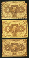 Fractional Currency:First Issue, Fr. 1228 5¢ First Issue Fine;. Fr. 1230 5¢ First Issue Fine Two Examples.. ... (Total: 3 notes)