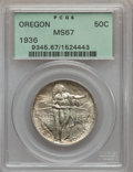 Commemorative Silver: , 1936 50C Oregon MS67 PCGS. PCGS Population (157/2). NGC Census:(139/2). Mintage: 10,006. Numismedia Wsl. Price for problem...
