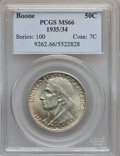 Commemorative Silver: , 1935/34 50C Boone MS66 PCGS. PCGS Population (229/39). NGC Census:(250/44). Mintage: 10,008. Numismedia Wsl. Price for pro...