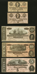 Confederate Notes:1863 Issues, T63 50 Cents 1863;. T67 $20 1864;. T68 $10 1864;. T69 $5 1864;. T7250 Cents 1864.. ... (Total: 5 notes)