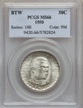 Commemorative Silver: , 1950 50C Booker T. Washington MS66 PCGS. PCGS Population (185/3).NGC Census: (156/13). Mintage: 6,004. Numismedia Wsl. Pri...