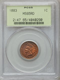 Indian Cents: , 1883 1C MS65 Red PCGS. PCGS Population (55/30). NGC Census:(88/42). Mintage: 45,598,108. Numismedia Wsl. Price for problem...