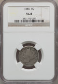 Liberty Nickels: , 1885 5C VG8 NGC. NGC Census: (24/377). PCGS Population (49/693).Mintage: 1,476,490. Numismedia Wsl. Price for problem free...