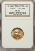 Modern Issues, 1988-W G$5 Olympic Gold Five Dollar MS70 NGC. Ex: US VaultCollection L/M. NGC Census: (1184). PCGS Population (239). Minta...