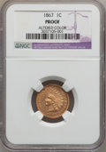 Proof Indian Cents, 1867 1C -- Altered Color -- NGC Details. Proof. NGC Census: (0/46).PCGS Population (1/20). Mintage: 625. Numismedia Wsl. P...