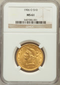 Liberty Eagles: , 1906-O $10 MS61 NGC. NGC Census: (75/149). PCGS Population(50/141). Mintage: 86,895. Numismedia Wsl. Price for problem fre...