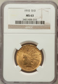Indian Eagles: , 1910 $10 MS63 NGC. NGC Census: (1010/578). PCGS Population(963/337). Mintage: 318,500. Numismedia Wsl. Price for problem f...