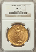 Saint-Gaudens Double Eagles: , 1908-D $20 Motto MS63 NGC. NGC Census: (541/680). PCGS Population(716/1264). Mintage: 349,500. Numismedia Wsl. Price for p...