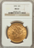 Liberty Double Eagles: , 1894 $20 MS63 NGC. NGC Census: (1306/126). PCGS Population(1021/108). Mintage: 1,368,990. Numismedia Wsl. Price for proble...