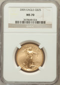 Modern Bullion Coins, 2005 G$25 Half-Ounce Gold MS70 NGC. NGC Census: (3737). PCGSPopulation (373). Numismedia Wsl. Price for problem free NGC/...