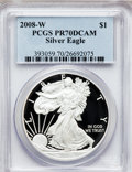 Modern Bullion Coins, 2008-W $1 Silver Eagle PR70 Deep Cameo PCGS. PCGS Population(1083). NGC Census: (11974). Numismedia Wsl. Price for proble...