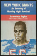 Football Collectibles:Others, 1999 Lawrence Taylor Hall of Fame Celebration Promotional Signed by Leroy Neiman....