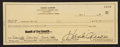 Baseball Collectibles:Others, 1984 Hank Aaron Signed Check. ...