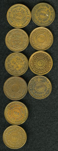 Civil War Patriotics: , 1863 U.S. Civil War Group Lot of 10 Tokens. A nice study group, allwith a similar obverse: the American flag and the captio... (Total:10 tokens)