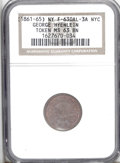 Civil War Merchants: , (1861-65) George Hyenlein, Fuld-NY-630AL-3a, R.2, New York, NY,MS63 Brown NGC. A nicely toned example of this token with so...