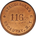 Civil War Merchants: , 1863 Staudinger's, Fuld-NY-630BS-2a, R.2, New York, NY, MS64 RedNGC. This is not a typical R.2 token: It is seldom that one...