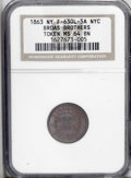Civil War Merchants: , 1863 Broas Brothers Army & Navy, Fuld-NY-630L-5a, New York, NY,MS64 Brown NGC. Not your typical strike for this merchant's ...