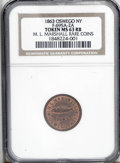 Civil War Merchants: , 1863 M.L. Marshall Rare Coins, Fuld-NY-695A-2a, R.1, Oswego, NY,MS63 Red and Brown NGC. A nice token, issued by a coin deal...