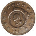 Counterstamps: , 1824 Washington/Lafayette Counterstamped 1820 Large Cent, Newcomb 15, Baker 198c. AU58 NGC. Host coin and counterstamp are b...