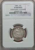 Seated Quarters: , 1880 25C -- Cleaned, Scratches -- NGC Details. VF. NGC Census:(0/124). PCGS Population (5/204). Mintage: 13,600. Numismedi...